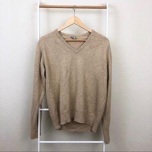 Vintage Nordstrom Beige V-Neck Cashmere Sweater